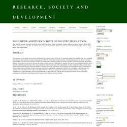 RESEARCH, SOCIETY AND DEVELOPMENT 06/03/20 Emulsifier additives in diets of poultry production