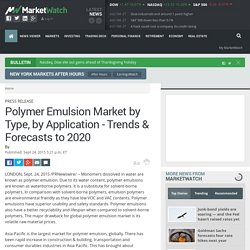 Polymer Emulsion Market by Type, by Application - Trends & Forecasts to 2020 - MarketWatch
