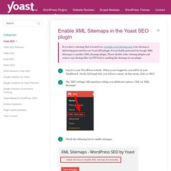 Enable XML Sitemaps in the Yoast SEO plugin - Yoast Knowledge Base