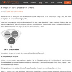 6 Important Sales Enablement Criteria – Lead Generation and Social Selling Articles and News