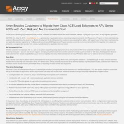 Array Enables Migration from Cisco ACE Load Balancers to APV Series ADCs