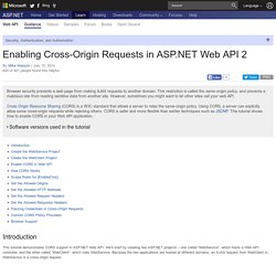 Enabling Cross-Origin Requests in ASP.NET Web API 2