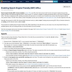 Enabling Search Engine Friendly (SEF) URLs
