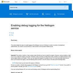 Enabling debug logging for the Netlogon service