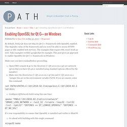 Enabling OpenSSL for Qt C++ on Windows