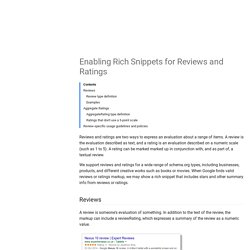 Enabling Rich Snippets for Reviews and Ratings