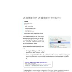 Enabling Rich Snippets for Products