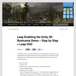 Leap Enabling the Unity 3D Bootcamp Demo – Step by Step + Leap HUD