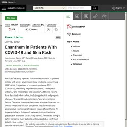 Enanthem in Patients With COVID-19 and Skin Rash