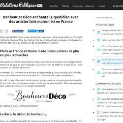 Bonheur et Déco enchante le quotidien avec des articles faits maison, ici en France