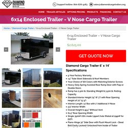 6x14 Enclosed Trailer - V Nose Cargo Trailer - Guaranteed Lowest Prices on Diamond Trailers