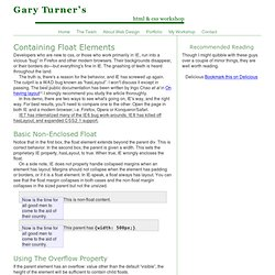 Enclosing Float Elements | Floats | HTML & CSS Workshop | Gary Turner web development