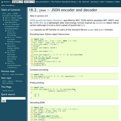 18.2. json — JSON encoder and decoder