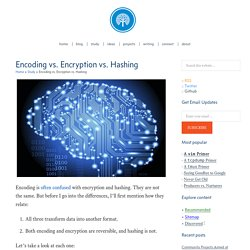 Encoding vs. Encryption vs. Hashing