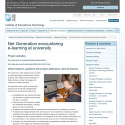 Net Generation encountering e-learning at university