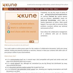 Kune: a web tool to encourage collaboration, content sharing and free culture