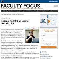 Encouraging Online Learner Participation