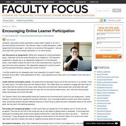 Encouraging Online Learner Participation
