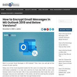 How to Encrypt Email Messages in MS Outlook 2019 and Below Versions?