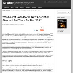 Was Secret Backdoor In New Encryption Standard Put There By The NSA?