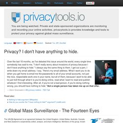 Privacy Tools - Encryption Against Global Mass Surveillance