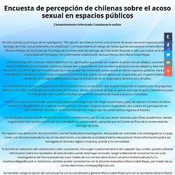 Encuesta de percepción de chilenas sobre el acoso sexual en espacios públicos