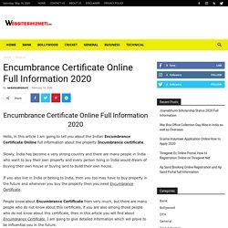 Encumbrance Certificate Online Full Information 2020