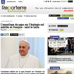 L'encyclique du pape sur l'écologie est publiée en français - voici le texte