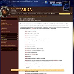 Encyclopedia of Arda: Old and Rare Words