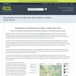 Encyclopedia of Life and iNaturalist work together to support citizen science