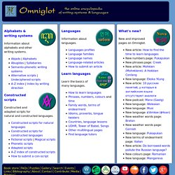 Omniglot - the guide to languages, alphabets and other writing systems