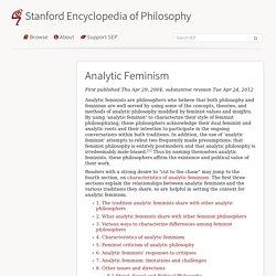 Analytic Feminism