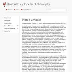 Plato's Timaeus (Stanford Encyclopedia of Philosophy)