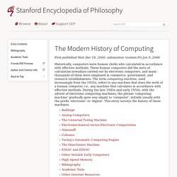 The Modern History of Computing (Stanford Encyclopedia of Philosophy)