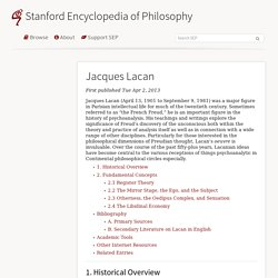 Jacques Lacan (Stanford Encyclopedia of Philosophy)