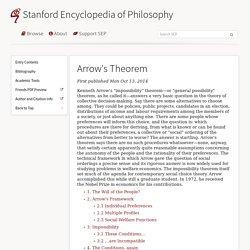 Arrow's Theorem (Stanford Encyclopedia of Philosophy)