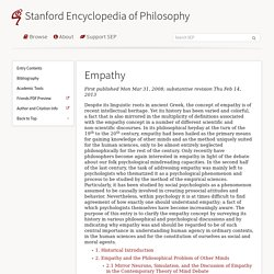 Empathy (Stanford Encyclopedia of Philosophy)
