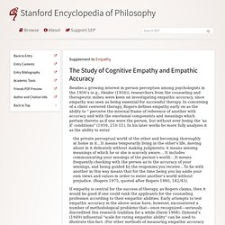 Empathy > The Study of Cognitive Empathy and Empathic Accuracy