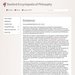 Existence (Stanford Encyclopedia of Philosophy) - StumbleUpon