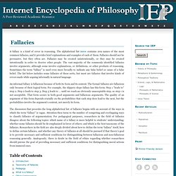 Fallacies [Internet Encyclopedia of Philosophy]