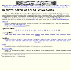 An Encyclopedia of Role-Playing Games