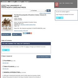 The New Encyclopedia of Southern Culture: Volume 23: Folk Art on JSTOR