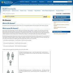 Rh Disease - Online Medical Encyclopedia