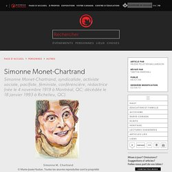 Simonne Monet-Chartrand - l'Encyclopédie Canadienne
