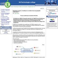 Numérique (cycle 4) : Contribuer à un article d'une encyclopédie collaborative ?