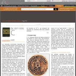 Archive Larousse : Grande Encyclopédie Larousse - corporation - corps (image du)
