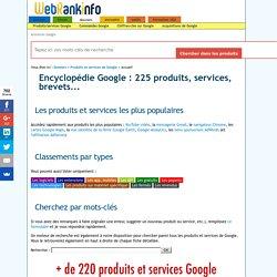 Encyclopédie des produits et services de Google - WebRankInfo