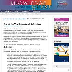 End of the Year Report and Reflection