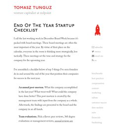 End of the year startup checklist