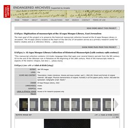 Endangered Archives Programme: Item Overview